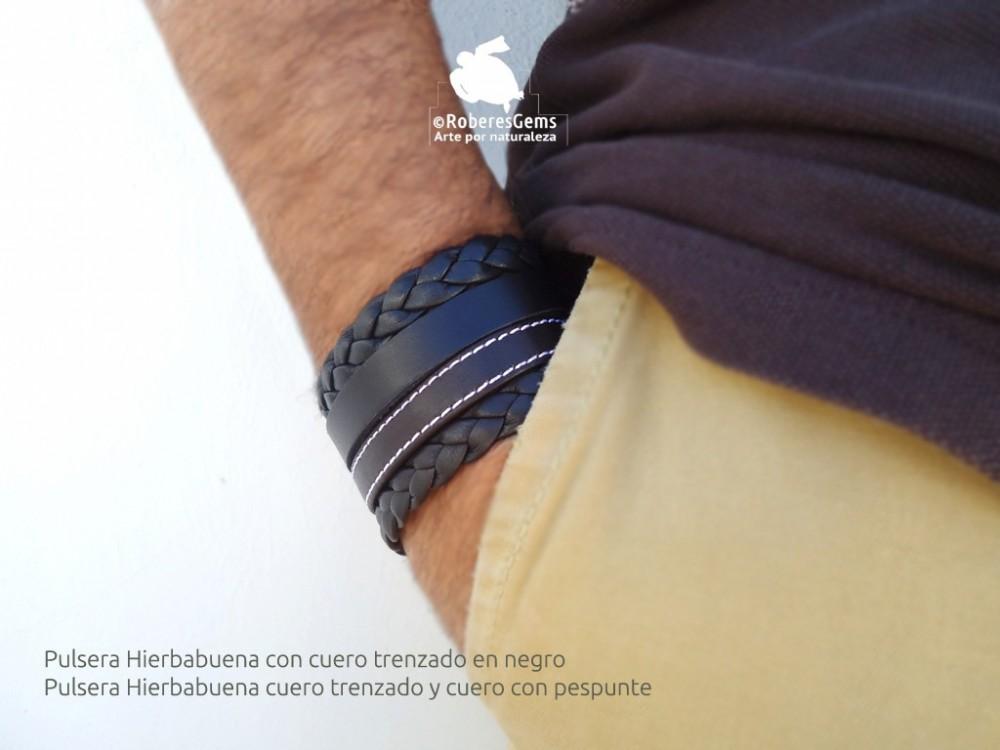 6bdf6203fb58 Pulsera hombre en cuero trenzado y cuero con pespunte Hierbabuena