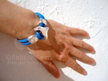 Cíes. Pulsera cuero azul y ancla