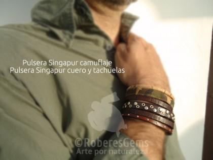 Singapur. Pulsera de Cuero con Tachuelas