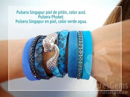 Phuket. Pulsera Pitón azul