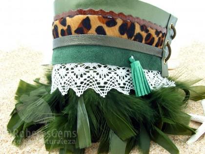 Cubre botas Ibiza. Verde y leopardo