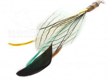 Extensiones con plumas. Faisan plata