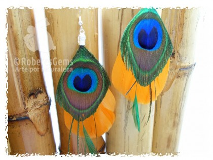 Pendientes Dakota. Pato amarillo y peacock