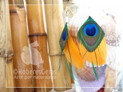 Dakota. Pendientes plumas de Pato amarillo y peacock