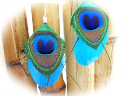 Dakota. Pendientes plumas de Pato en azul eléctrico