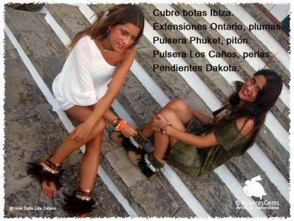 Pulsera botas Ibiza. Encaje de bolillos