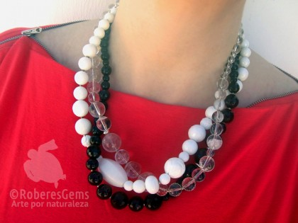 Amorgos. Collar Cristal de roca, Ónix, Ágata y Nácar