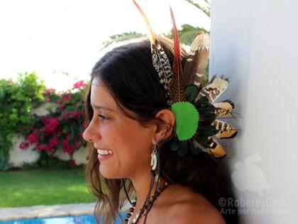 Montana. Ear Cuff  con plumas de Faisán verde