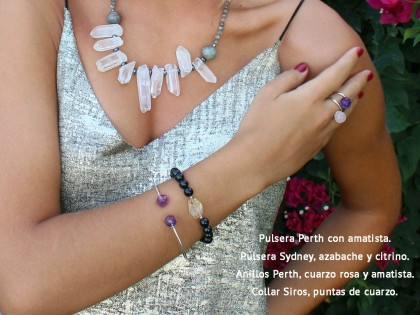 Siros. Collar de Cuarzo, Labradorita y Hematites