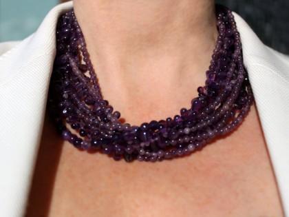 Amorgos. Collar de Amatista y Plata de Varias Vueltas