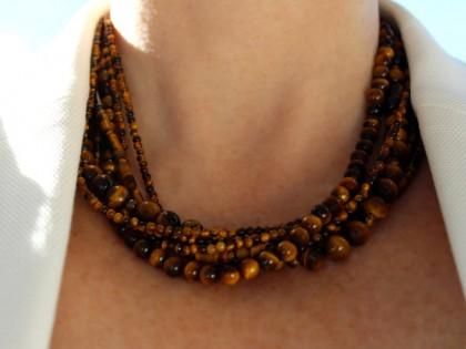 Amorgos. Collar Ojo de Tigre y Plata de Varias Vueltas