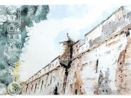Acuarela Muralla San Carlos, Cádiz