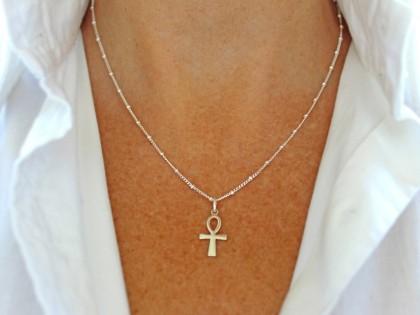 Céfiro. Collar Cruz egipcia en plata