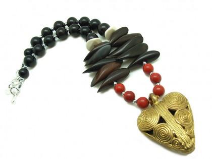 Serengueti. Collar Jaspe rojo, Ébano y Bronce
