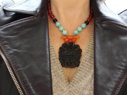 Kyoto. Collar Amazonita, Cornalina y Jade