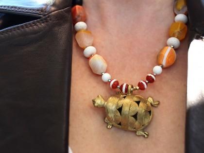 Serengueti. Collar Cornalina, Ágata, Coral, Ébano y Bronce