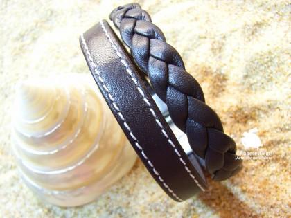 Pulsera Hierbabuena. Cuero con pespunte