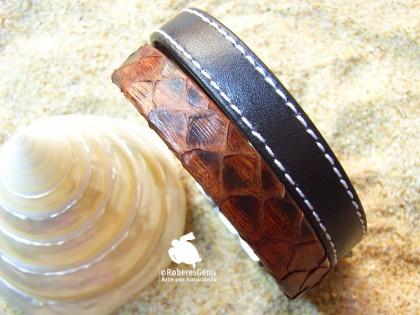 Pulsera Hierbabuena. Piel de serpiente