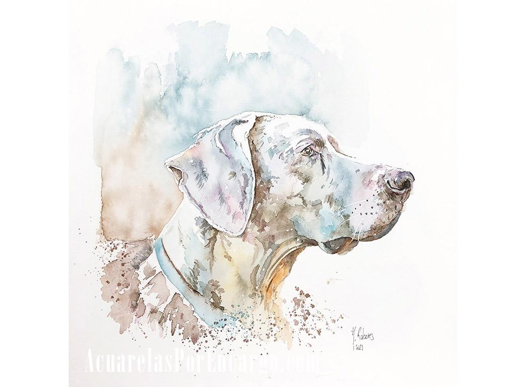 Encargo retrato personalizado de mascotas en acuarela