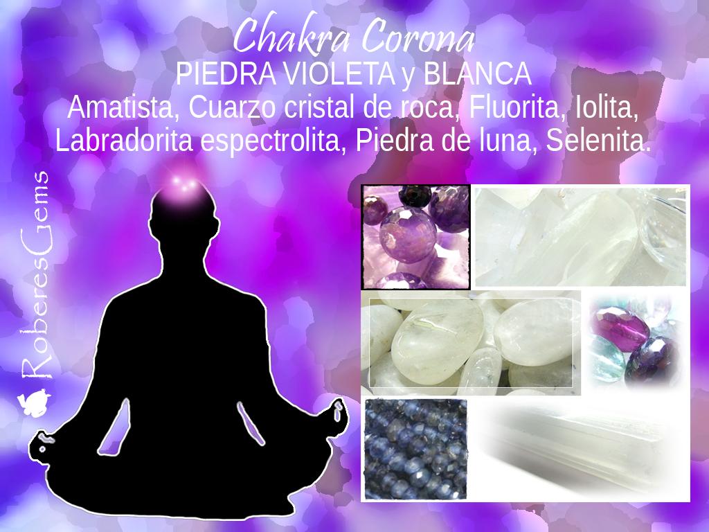 Piedra Violeta y Blanca. Chakra Corona.