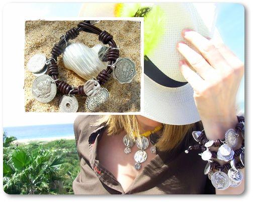 Pulsera Levante con cuero y monedas