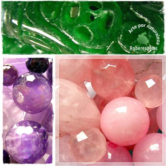 División Complementaria. Jade, amatista y cuarzo rosa